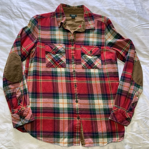 Roots Red Plaid Flannel Lumberjack Elbow Pads